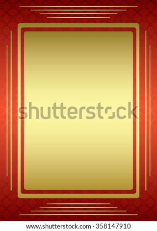 red frame with golden decor - stock photo