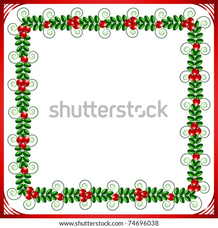Red frame with leafs and berries on a pink background