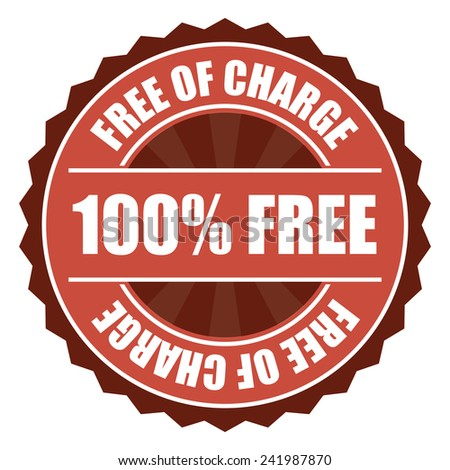 Red 100% free of charge icon, tag, label, badge, sign, sticker isolated on white  - stock photo