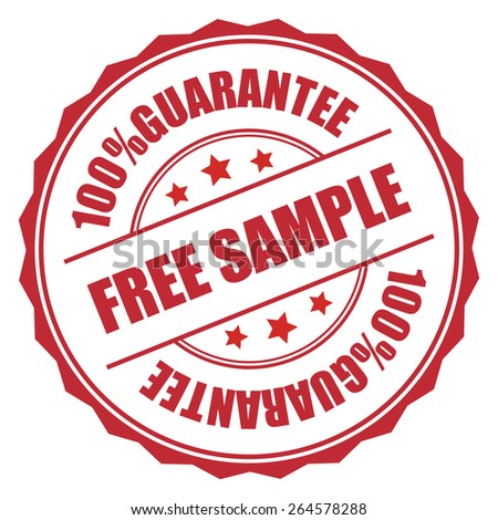 Red Free Sample 100% Guarantee Badge, Banner, Sign, Tag, Label, Sticker or Icon Isolated on White Background - stock photo