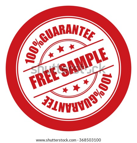 Red Free Sample 100% Guarantee Campaign Promotion, Product Label, Infographics Flat Icon, Sign, Sticker Isolated on White Background  - stock photo