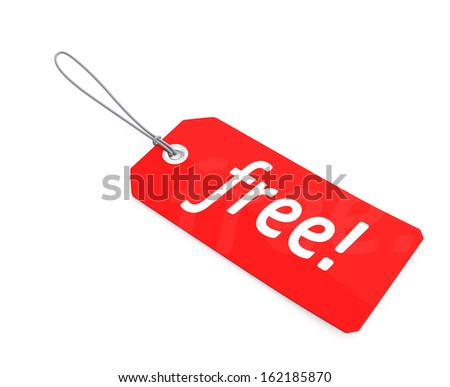 Red  free tag with clipping path
