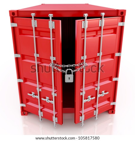 Red freight container is closed on the lock isolated on white background - stock photo