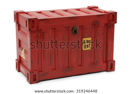 red freight containers isolated on white background - stock photo