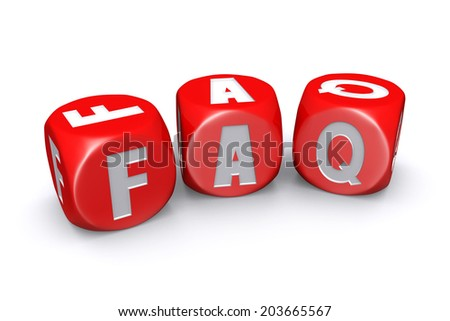 Red frequently asked questions dices on white background