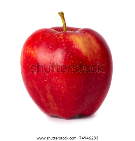Red fresh apple isolated on white background - stock photo
