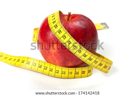 Red fresh apple with tape on white background (health and diet concept)