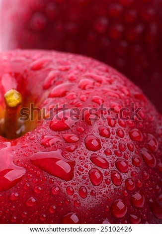 Red fresh apples  with drops of water - stock photo