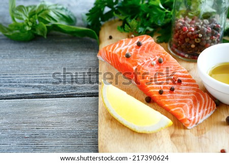 Red fresh fish on a cutting board.Seafood - stock photo