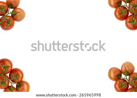 Red Fresh Ripe Stem Tomatoes Frame on Four Corners Isolated on White Background - stock photo