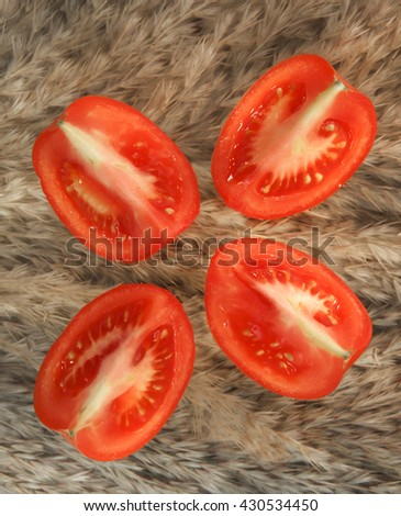red fresh tomato cut in four pieces on a grass-like plant background