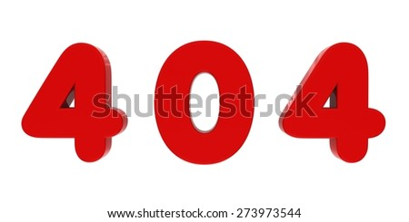 Red 404 Fridge Magnet Letters - stock photo
