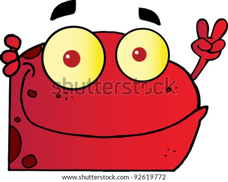 Red Frog Gesturing The Peace Sign With His Hand - stock photo