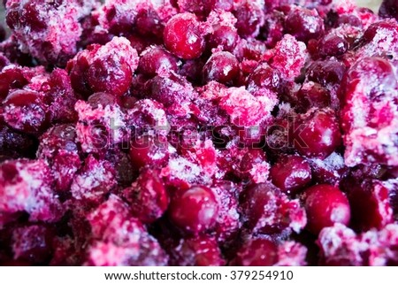 Red frozen cherries as background - stock photo