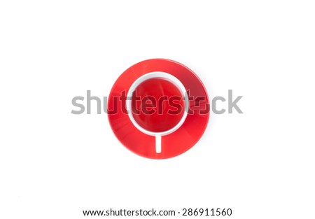 Red fruit tea in transparent  cup l, top view isolated on white background with clipping path. Healthy tea drinking. - stock photo