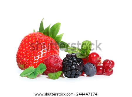 red fruits on white background - stock photo