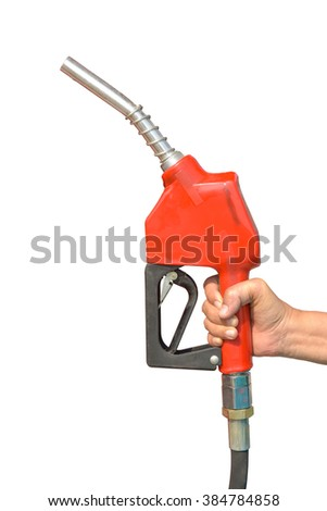 Red Fuel nozzle Car Gas Tank - Fueling Theme. Closeup Photo Collection isolated on white background. This has clipping path. - stock photo