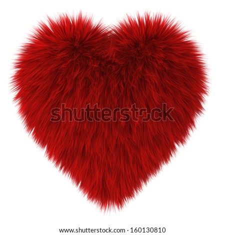 Red fur heart. 3d illustration on white background  - stock photo