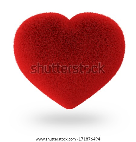 Red Furry Heart isolated on white background - stock photo
