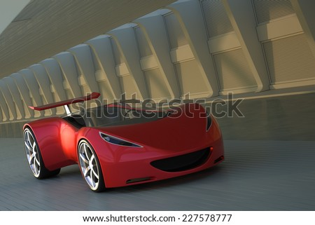 red futuristic concept sport car 3d render