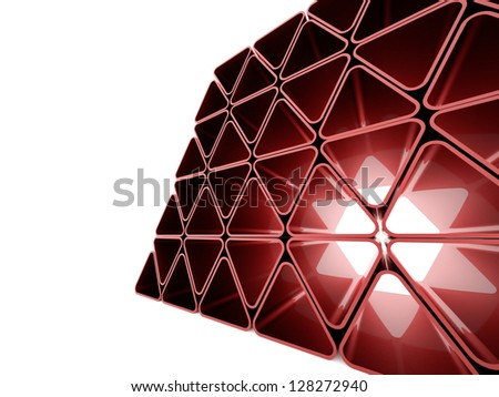 Red futuristic triangles wall on white background - stock photo