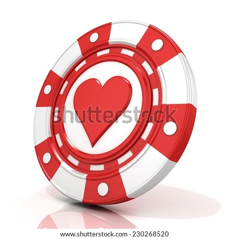 Red gambling chip with heart sign on it. 3D render isolated on white background - stock photo