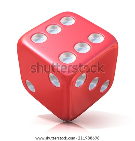 Red game dice isolated on white background - stock photo