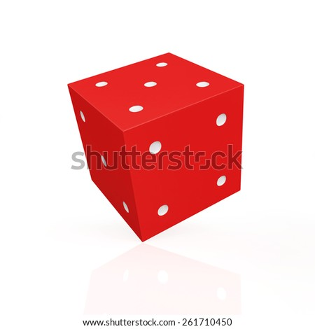 Red game dice with white dots isolated on white background - stock photo