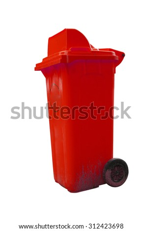 Red garbage plastic bins isolated on white background. - stock photo