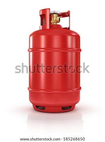 red gas balloon isolated on a white background - stock photo