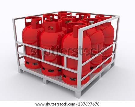 red gas bottle on pallet - stock photo
