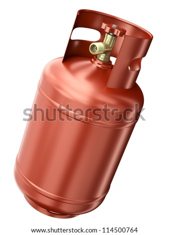 Red gas container isolated on white background. 3D render. - stock photo