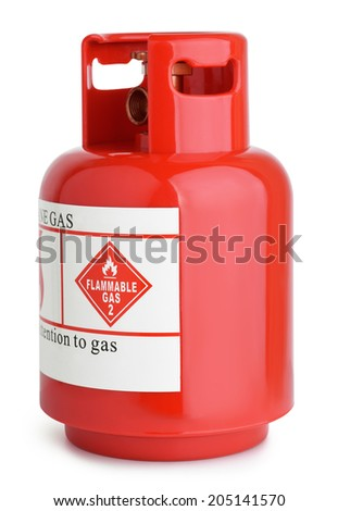 Red gas cylinder isolated on white - stock photo