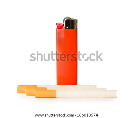 Red gas lighter and cigarettes isolated on white background