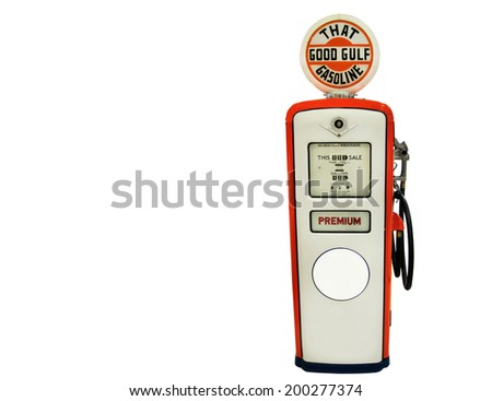 Red gas pump isolated over white background.  - stock photo
