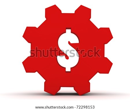 red gear with a dollar sign