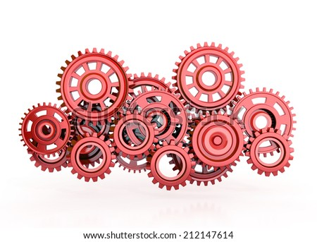 red gears isolated on white background. 3d render