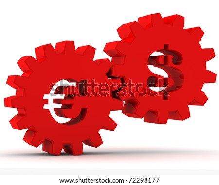 red gears with a dollar and euro sign