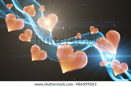 Red gem hearts leading fire smoke wave isolated on dark background. Geometric rumpled triangular low poly style graphic 3d render illustration. Raster polygonal design for your business.