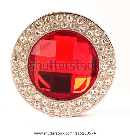 Red gem stone and diamonds on white background - stock photo