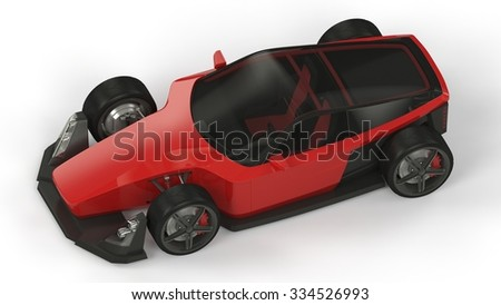 Red generic car on white background. 3d render