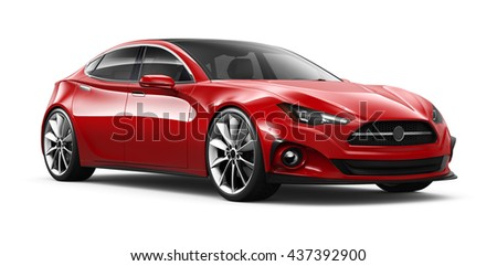 Red generic stylish car - 3D render on white
