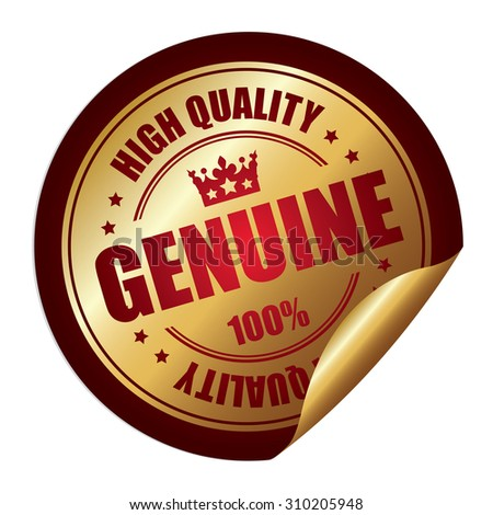 Red Genuine 100% High Quality Infographics Peeling Sticker, Label, Icon, Sign or Badge Isolated on White Background  - stock photo
