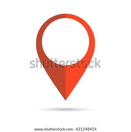 Red geo pin as logo with copy space on white. Geolocation and navigation. Icon for mobile and electronic devices, web design, infographic elements, presentation templates. Raster version - stock photo