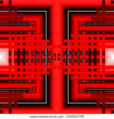 red geometric background with lines and squares