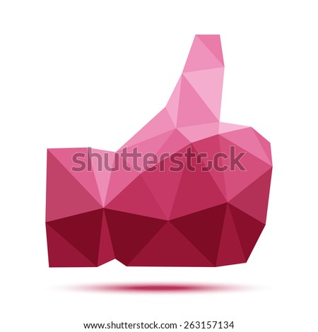 Red geometric polygonal thumb up icon - stock photo