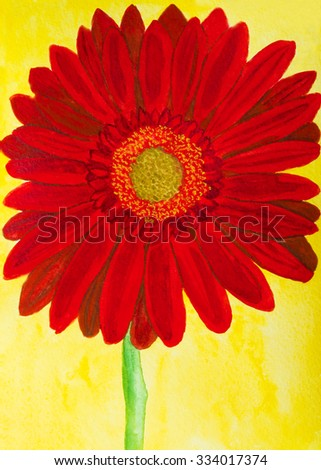 Red gerbera flower on yellow background, watercolor painting.