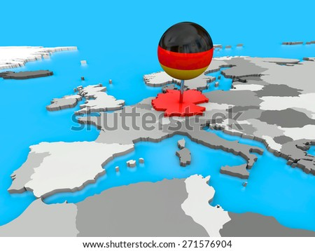 Red Germany pinned to the map of Europe with a big push pin colored as the German flag - stock photo