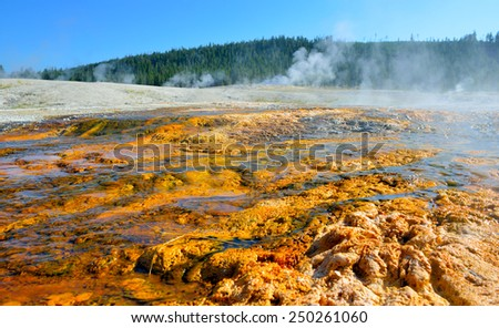 red geyser in Upper Geyser basin of Yellowstone National Park, Wyoming - stock photo
