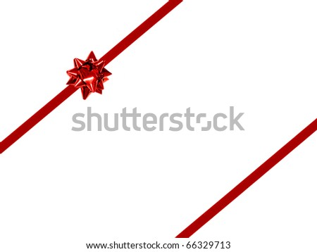 Red gift bow and ribbon background - double stripped diagonal orientation
